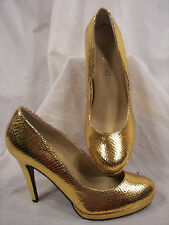 Gently Used Colin Stuart Gold Leather Snake Texture Stiletto Heels 6M L@@K!!!!