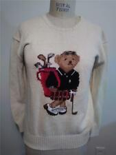 Vintage POLO RALPH LAUREN Cream Crewneck GOLF BEAR Sweater M