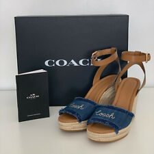 NEW! COACH KELLEY DENIM BLUE SADDLE WEDGES PLATFORM SHOES SANDALS 6.5 37 $228