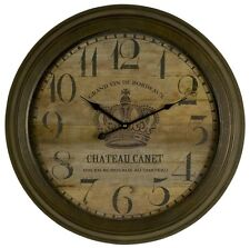 LARGE Vintage Rustic Brown Wrought Iron Wall Clock NEW French Chateau Canet