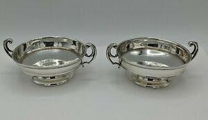A Pair Of Small Silver Pedestal Bowls William Hutton & Sons Ltd Birmingham 1908