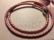 Pandora tamaño 35cm Doble Trenzado Pulsera De Cuero Rosa