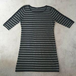Jaeger Ladies Black Grey Striped Wool & Cashmere Blend Dress - Size XL