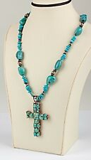 """*Natural Blue Green Turquoise Sterling Silver Cross Pendant Necklace 22"""""""