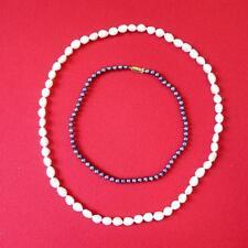 LOTTO di 2-Finta Perla COLLANE-BIGIOTTERIA-Bianco 72 cm-Grigio 42 cm
