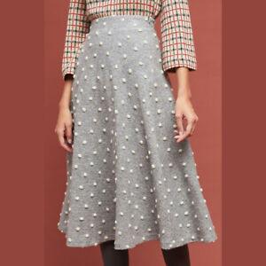 ANTHROPOLOGIE Maeve Womens Snow Flurry Skirt Size M Petite GREY