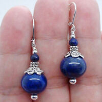 Beautiful Handmade Bold Blue Lapis Lazuli 925 Silver Earrings 6-12mm 1 Pair