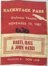 HALL & OATES 1981 TOUR Backstage Pass Orpheum Theatre