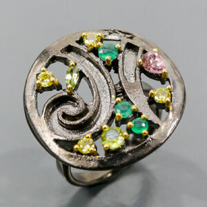 Handmade gemstone Peridot Ring Silver 925 Sterling  Size 6 /R174157