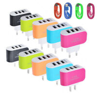 KM_ 3.1A Fast Charge 3 USB Ports Plug-in Wall Charger Adapter with Data Cable