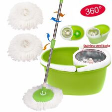 360° Rotating Magic Spin Mop Stainless Steel Dehydrate Basket W/Bucket 2 Heads