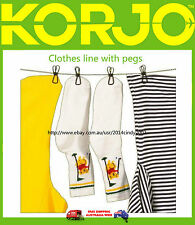 NEW KORJO CLOTHES LINE WITH PEGS --GOOD FOR TRAVEL, CAMPING, HOUSEHOLD USE