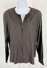 Eileen Fisher Size Large Jacket Top Long Sleeve Full Zip Brown Pleated Crinkle