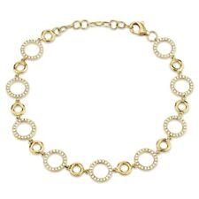 14K Yellow Gold Diamond Circle Charm Link Bracelet Womens Round Cut Natural