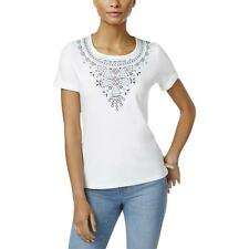 Karen Scott Embroidered U-Neck Short Sleeves T-Shirt Size L