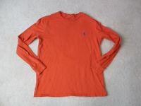 Ralph Lauren Polo Long Sleeve Shirt Adult Small Orange Blue Pony Mens 90s