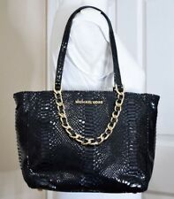MICHAEL KORS Medium Black Python Snakeskin Hobo Shoulder Bag Handbag EUC