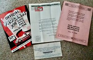 Official Program, Tickets, Indianapolis 500 Motor Speedway May 30, 1946, Letter!