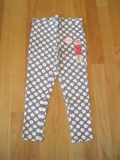 Girl WHITE POLKA DOTS GRAY FASHION stretch leggings pants NWT 4 5