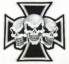 Maltese 3 Skull Cross Chopper Biker Heavy Metal Iron On Embroidered Badge Patch
