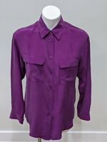 Equipment Size XS Blouse Purple Long Sleeves 100% Silk Pockets Button Up Collar