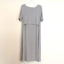 Undercover Mama Nursing Dress Small Grey White Stripe