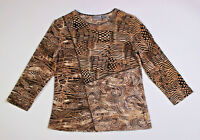 Chicos Womens Top Brown Print Shirt 3/4 Sleeves Sequins Size 0 Small EUC