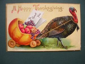 HAPPY THANKSGIVING POSTCARD, TURKEY WITH FRUIT BASKET