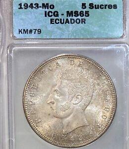 1943 Ecuador 5 Sucre large silver coin ICG MS65