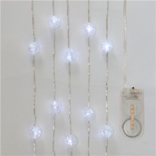 Acrylic Cracked Ball LED Fairy Lights On Wire 2 Metre Clear White Battery Powere