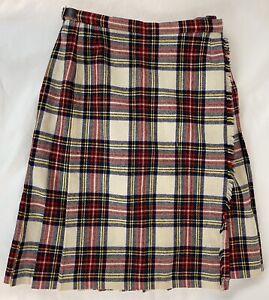 """Vintage LYLE & SCOTT Girls Plaid Wool Kilt  ~ Sz 12 (25-26"""" Waist) ~ Scotland"""