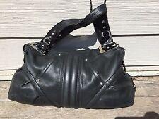 B. MAKOWSKY Black Leather - Slouch Hobo Shoulder Bag - Silver Hardware