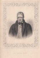 1840 Vittoriano Stampa ~ Ritratto Di Sir Walter Scott