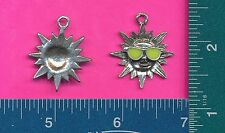 lead free pewter sun with glasses pendant with yellow epoxy 4033