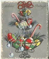 VINTAGE CHRISTMAS ORNAMENTS CANDY TIER SILVER ILLUMINATED MCM GREETING ART CARD