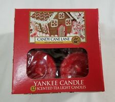 Yankee Candle CANDY CANE LANE Box of 12 Scented Tealights Tea Light Red Christma