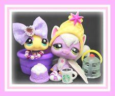 ��Authentic Littlest Pet Shop Lps #2271 #2467 Sparkle Angora Longhair Cat Bee��