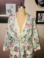 NOS VTG 90'S APPEL FLORAL GARLAND PRINT COTTON BELTED DRESSING GOWN ROBE*XS/S