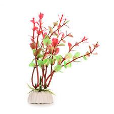 Red Green Plastic Plant Decor & Ceramic Base For Fish Tank Aquarium w/