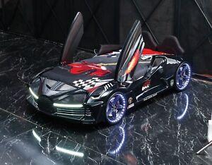 Child /Kids Black Race Car bed Leather seat with Music LED Light Scissor Door