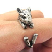 Cute Vintage Style Silver Adjustable Hamster Animal Wrap Ring Nickel Free