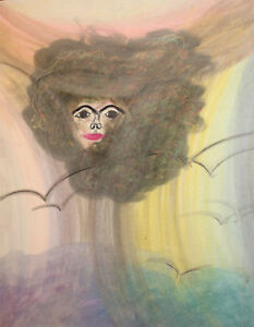 1982 Abstract portrait pastel painting signed