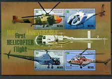Nevis 2007 MNH Helicopter 1st Flight 100th Anniv 4v M/S Sikorsky Swidnik Stamps