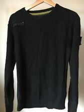 "No Excess Size L 44"" Black Ribbed Cotton Mix Jumper <T10244"