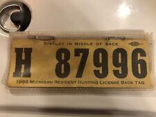 Vintage 1966 Michigan Resident  Hunting License Back tag  #H 87996