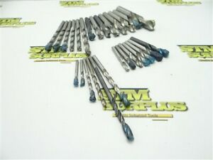 """LOT OF 27 ASSORTED HSS HSCO FLAT BOTTOM DRILLS 5/32"""" TO 39/64"""" DIA CLEVELAND C-L"""