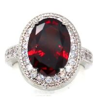 Large 2CT Oval Red Ruby Halo Ring Women Birthday Jewelry Gift 14K White Gold