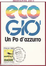 ITALIA MAXIMUM MAXI CARD GIOVANI ECO GIO' UN PO D'AZZURRO 1989 GUASTALLA RE B950