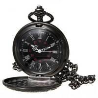 Black Retro Steampunk Antique Mechanical Skeleton Men's Pocket Watch Gift Chain