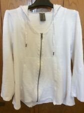 XCVI Womens Jacket Hoodie Zip Yoga Athletic Crisp White Medium
